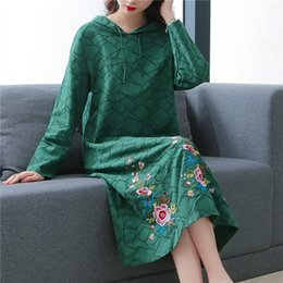 2020 gestickte jacquard-kleider jSQ8H Autumn 2020 Dress hemp jacquard medium length Chinese embroidered hooded fashion dress trend Embroidered cotton of national style UPqCC