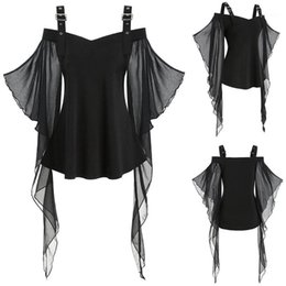 insert t-shirt Promotion Nouvelles femmes Halloween T-shirts Gothic Criss Cross Dacette Plus Taille Insertion Papillon Sleeve T-shirt Halloween Costume Mode Tops1
