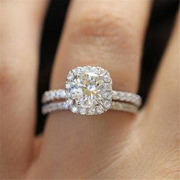 Rings artificiali online-Princess Set con Gem Artificial Gem Diamond Ladies Engagement Wedding Party Jewelry Anello di gioielli Dimensione 5/6/12/12/10/12/12