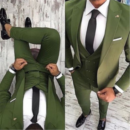 Vestiti di verde oliva online-New High Quality One Button Olive Green Groom Tuxedos Peak Lapel Groomsmen Best Man Suits Mens Wedding Suits (Jacket+Pants+Vest+Tie) 357