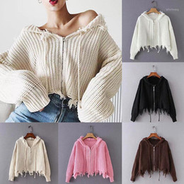 une couleur à tricoter pull Promotion 2020 Polyester Hole Street Pull tricoté Cardigan Spring Spring Spring Automne Solide Couleur Sweater One Taille Manteau Pour Femmes Dames1