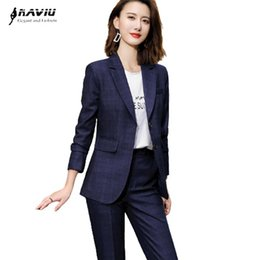 2021 trajes azul marino para damas Navy Blue Plaid Suits Mujeres Higt Eed Entrevista Formal Negocio Slim Blazer and Pants Office Ladies Fashion Work Wear Black trajes azul marino para damas baratos