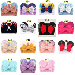 babys haare verbeugungen Rabatt Big bow wide haidband cute baby girls christmas hair accessories sequined mouse ear girl headband 47 colors makeup costume band GGB2451