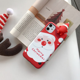 caso do iphone de santa do natal Desconto iPhone 12 Feliz Natal Papai Noel cervos boneca Silicon Capa Para Mini 11 Pro Max XR 8 mais phone cases Presentes do partido do Xmas HH9-3580