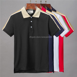 Herren casual mäntel neue designs online-Neue Designer Polo Hemden Männer Casual Polo T-Shirt Druck Stickerei Mode Europa Paris High Street Solide Farbe Herren Polos Mantel Baumwolle M-3XL