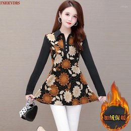 túnicas casuales desgaste de la oficina Rebajas Mujeres Winter Spring Tunic Wear Basic Office Lady Plus Tamaño Casual Patchwork Cálido Terciopelo Inside Lace Peplum Tops Blouses1