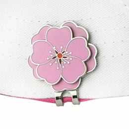 Balles de golf dames en Ligne-Pinmei Flower Golf Ball Mark Chapeau Clips Set Cap Clips avec marqueurs Golf Set Cadeaux accessoires pour golfeurs d'affaires Lady Friend