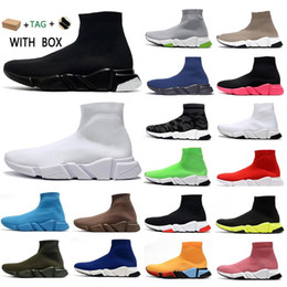 Scarpe da scarpe glitter donna online-2021 Speed ​​Trainer Runner Men Sneakers Tripla Black Stretch Maglia Glitter Paris Donna Mens Trainer Flat Socks Boots Piattaforma Scarpe casual