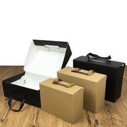 2021 scatole nere di kraft Eco-Friendly Kraft Paper Gift Box Black Brown 4 Size Foldable Carton Packaging Box Suitable For Clothes and Shoes HH9-3420