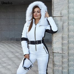 Parka de esqui online-Umeko 2020 Winter Women's Hooded Jumpsuits Parka Cotton Padded Warm Sashes Ski Suit Without Belt One Piece Casual Tracksuits