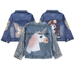 2020 ko Toddler Children's Unicorn Jacket For Girls Fashion Style Sequin Design Outerwear Embroidery Baby Girls Jacket & Coats Kids Jean 201110 günstig ko