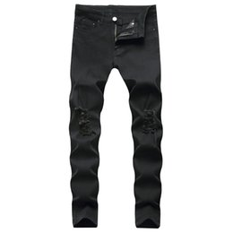 Jeans conica online-Ripped conici Leg Jeans Destroyed Fori ginocchio Distressed elastiche Uomo Slim Fit