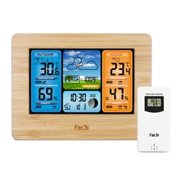 alarme da estação meteorológica Desconto FJ3373 parede Desk Alarm Clock Weather Station Digital termômetro higrômetro Wireless Sensor Previsão temperatura do relógio
