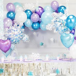 Palloncini del partito della principessa online-Princess Party Balloons Christmas Snowflake Foil Balloons Baby Show Birthday Party Decorations Bambini Forniture da sposa Inverno T200104