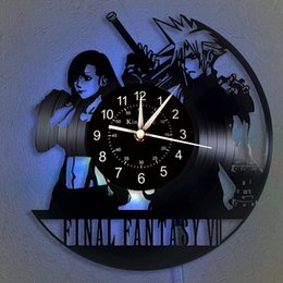 fantasie uhr Rabatt Final Fantasy Vinyl Record Wanduhr LED-Quarz-Uhr | Home Decor Clock Einzigartige Karikatur-Geschenk 7 Farbe Luminous Wanduhr.