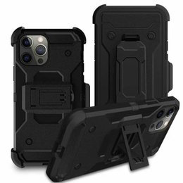 Samsung galaxy s10e devoir lourd cas en Ligne-Cas avec clip ceinture pour iPhone 12 Mini 12 Pro XR XS MAX X 8 7 6 Galaxy S10 S10e Holster antichocs Armure dur hybride PC + TPU Cover Heavy Duty