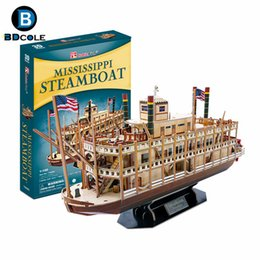 Holzboot schiff modell online-142pcs Jimusuhutu Mississippi Steamboat 3D Paper Boat Model Kits Spielzeug aus Holz Schiff Bausatzkit Kindertags-Geschenk