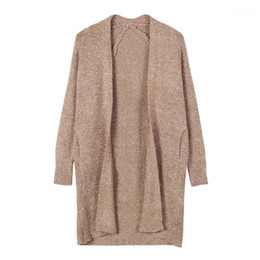 long cardigan camel Promotion Automne hiver Femmes Poches Cardigans tricotés Office Casual Casual Camel Long Open Stitch Pull1