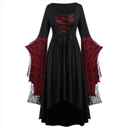 robe crâne à manches longues Promotion 38 PLUS Taille Femmes Robe Solide Batwing Sleeve Trois Quarte Skull Dentelle Bell Halloween A Ligne Fashion Robes Longues Vestidos
