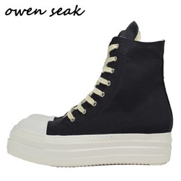 pattini di tela di canapa degli uomini zippati Sconti Owen Seak Men Canvas Shoes Luxury Trainers Boots Lace Up Sneakers Casual Women Height Increasing Zip High-TOP Flats Black Shoes LJ201026