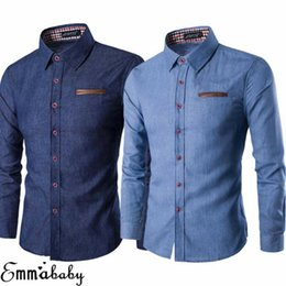 Manga larga camiseta jeans hombre online-EE. UU. Menores de lujo de manga larga Botón de manga larga camisa Slim Fit Denim Jeans T-shirts Tops Botón abajo Camisas Casual Slim Fit Jeans Tops Tops