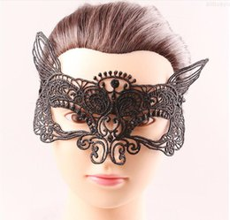 Máscara de murciélago de encaje online-Máscaras Moda Fashion Crown Black Fox Bat Design Halloween Halloween Mascarada Party Lace Face Masks Graduación Birtyday Sexy Media Face MSD
