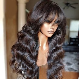полные парики шнурка для афроамериканца Скидка 5*5 Scalp Silk Top Glueless Lace Front Wigs Brazilian Remy Body Wave with Full Bangs For African American