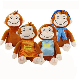 Джордж сапоги онлайн-4 Styles 30cm Curious George Plush Doll Boots Monkey Stuffed Toy Animal Peluche Toys For Kids Christmas Birthday Gifts 201204