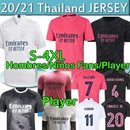 camiseta de fútbol 4xl Rebajas Real Jugador de Madrid 20 21 Jerseys de fútbol Peligro Sergio Ramos Benzema Fans 2020 Camiseta de Fútbol Men Kit Kit Set Football Shirt Uniform 4xl