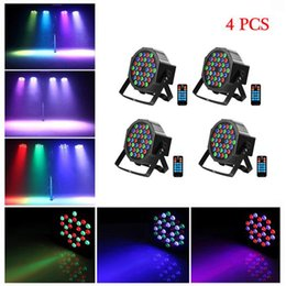 2021 ha condotto par 36 luci 36W 36-LED RGB PAR Light Remote / Auto / Sound Control DMX512 Alta luminosità Mini DJ Bar Party Stage Lamps * 4