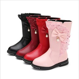 2021 bambini grandi stivali invernali Inverno New Black Kids Boots Girls Boots Bambini High Bow Tie Shoes Girls Pincess Dress Boots Big Bambini Scarpe Dimensioni 27-37 Y200104