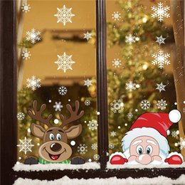 5060cm Christmas golden windows stickers christmas deer diy wall window door mural decal sticker for retail store Coffee house-C 2024inch