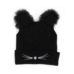 2021 brincos harajuku Aqueça Hat Winter Fashion Cat Adorável Hat Ear For Women Ins Hot Harajuku Malha Chapéus Skullies Feminino Gorros Bonnet falso vison
