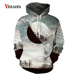 Mens Womens Hoodies 3D Sweatshirt Moon Forest Tree Graphic Pullover Casual Tops