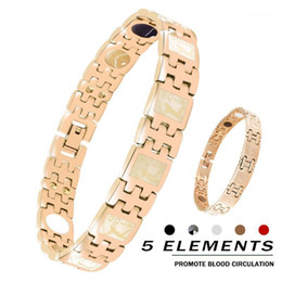 2021 encantos pulseira de golfe New Golf Men Women Lovers Magnetic Therapy Bracelet 316L Stainless Steel Unique fashion 5in1 health Couple charm bronze bracelet1