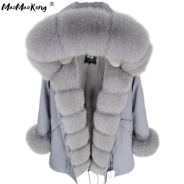 Chaqueta de piel de zorro gris online-Maomaokong Winter Women Grey Natural Natural Fox Four Chaleco con capucha gruesa cálida Fashion Real Fur Coat Long Parkas Negro Impermeable 201120