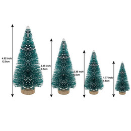 2021 artesanato de árvores de natal Artificial Fosco Sisal Christmas Tree Garrafa Escova Árvores Com Base De Madeira Diy Crafts Mini Pine Tree Home Table Top Top Decor Ewe2427