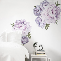 2021 carta da parati viola per la camera da letto New Style Style Viola Peony Wall Stickers Bedroom Sangue Decoration Decoration Mural Home Decor Decalcomania Decalcomanie rimovibili Autoadesivi Stickers Wallpaper 201201