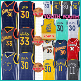 2021 camisetas de la universidad para jóvenes Hombres Youth Kid's Stephen 30 Curry 33 Wiseman Baloncesto Jersey Klay 11 Thompson Davidson Wildcats NCAA College Jerseys camisetas de la universidad para jóvenes baratos