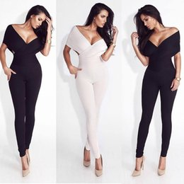 Tuta bianca più le donne di formato online-Sexy Deep V Bodycon White Turtsuit Clubwear Plus Size Summer Elegance Black Jumpsuit Club per le donne 2020 Party Ladies1