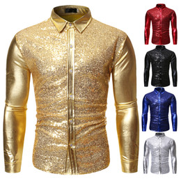 Robes de bal ajustées en Ligne-Hommes or brillant Patchwork Paillettes Shirt Slim Fit robe à manches longues Homme Chemises DJ du Club Party Stade Tops bal