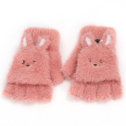 Guanti mezze dita bambino online-Winter Soft Half Finger Flip Cover Gloves for Children Baby Girl Boy Kids Animal Warm Mittens