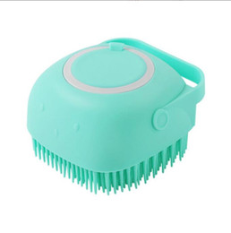 haustier massage bad bürste Rabatt Dog Bath Brush SPA Shampoo Pet Massage Comb Soft Silicone Brushes Cat Shower Hair Removal Combs Pets Cleaning Grooming Tool EEC2467