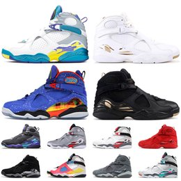 2021 chaussures de basket aqua nike air jordan 8 8s jordan retro 8 Top Mode 2020 Jumpman Mens satinJordanChaussures de basket-ball rétro SE Blanc Multicolor Doernbecher Aqua Noir Baskets Sneakers chaussures de basket aqua pas cher