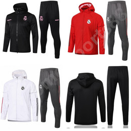 2021 costumes coupe-vent 2020 2021 Real Madrid Manches longues Football Suit Jacket 20 21 Camiseta de futbol Windbreaker Veste Jogging Football Tracksuit