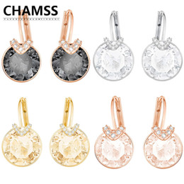 feriado preto rosa Desconto Chamss Swans Brincos Rose Gold Diamond Gold Brincos Bella V Pierced Brincos Black Swan Ear Studs Holiday presentes 201223