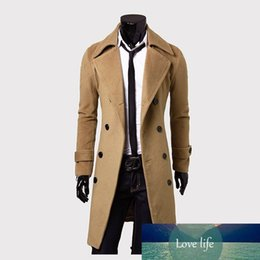 Cappotto di trincea diritta online-Mens Trench Coat New Fashion Men Cappotto lungo Cappotto Autunno Inverno Doppio petto Antivento Straight Style Trench Coat Uomo Plus Size