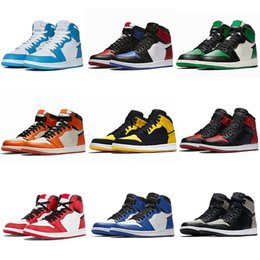 Sapatos de basquete homens-de-rosa on-line-Jumpman jordan 1 Basketball Shoes Running shoes roxos 1 alta OG basquete sapatos 1s Real Toe preto rosa judiciais preto verde UNC patentes sapatilhas Eur 36-46