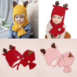 Zwei farbschal online-Süßigkeit-Farben-Winter-warmer Schal Deer Warmhalte Knitting Caps Zweiteiler Cartoon Tiere Halstücher Factory Direct 18jm F2