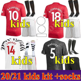 Set jersey di calcio giovanile online-Youth Child 2020 2021 Casa Away 3rd Sancho Manchester Soccer United Jerseys 20 21 Rashford Camicia calcistica UTD Kit Kit Kit uniformi